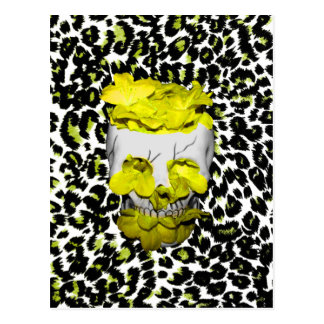 Skull and Yellow Flowers on Leopard Print Postcard
