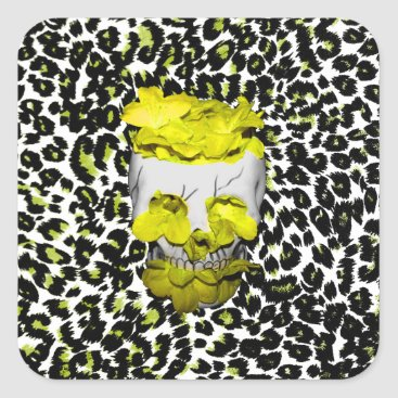 Halloween Themed Skull and Yellow Flowers on Leopard Print Square Sticker