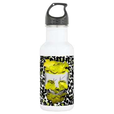 Halloween Themed Skull and Yellow Flowers on Leopard Print Stainless Steel Water Bottle