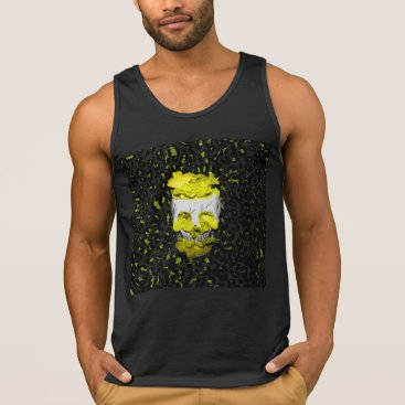 Halloween Themed Skull and Yellow Flowers on Leopard Print Tank Top