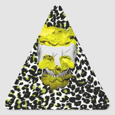 Halloween Themed Skull and Yellow Flowers on Leopard Print Triangle Sticker