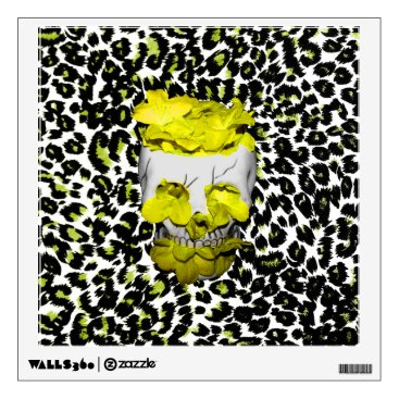 Halloween Themed Skull and Yellow Flowers on Leopard Print Wall Sticker