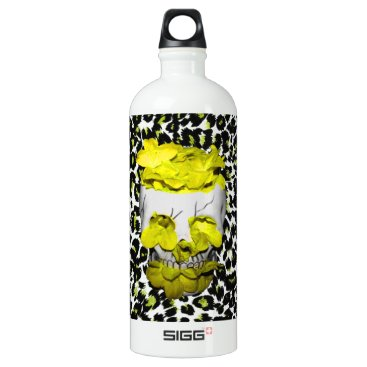 Halloween Themed Skull and Yellow Flowers on Leopard Print Water Bottle
