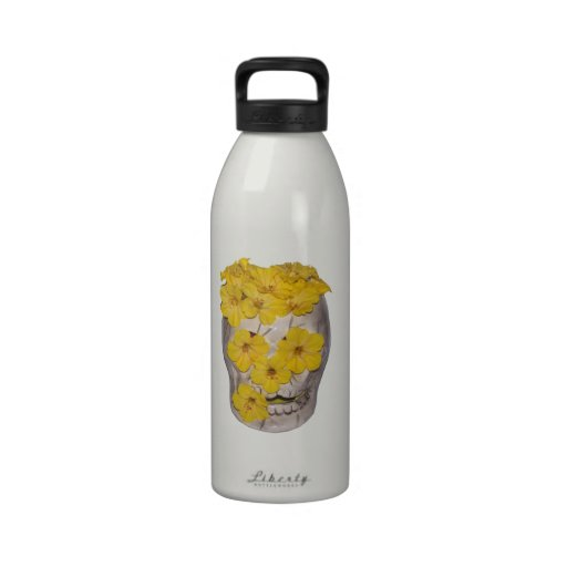Skull and Yellow Flowers Reusable Water Bottle