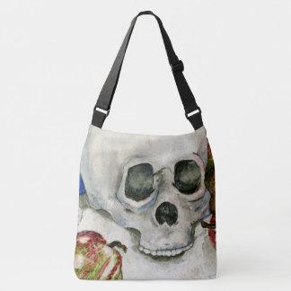Skull & Apples Still Life Watercolor, Goth Bones Crossbody Bag