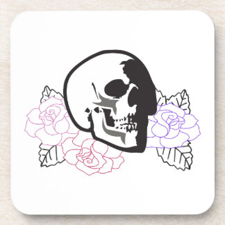 skull applique with roses coasters