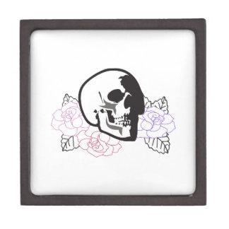 skull applique with roses premium trinket box