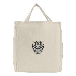 Skull Art Embroidered Tote Bag