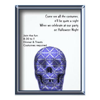 Skull Art in Black and Blue Halloween Invitation