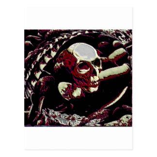 skull art postcard