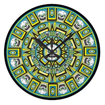 Skull Aztec Calendar Design Clock