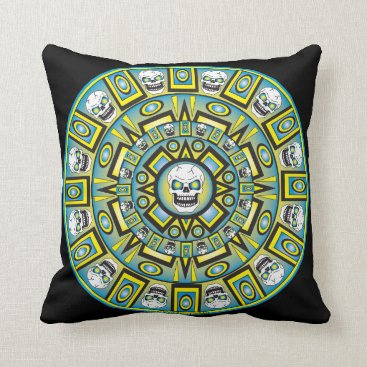 Skull Aztec Calendar Design Pillow - Black
