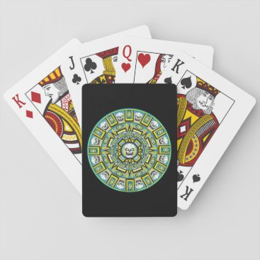 Skull Aztec Calendar Design Playing Cards