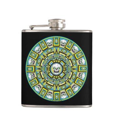 Skull Aztec Calendar Design Vinyl Flask