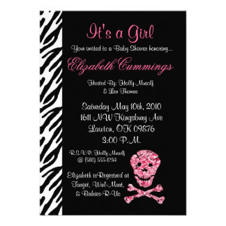 skull Baby Shower invite cute pink fun punk rock