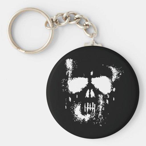 Skull Badge Basic Round Button Keychain