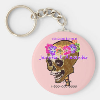 Skull bag tags basic round button keychain