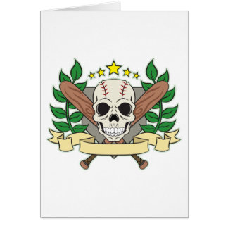 Skull Baseball Emblem Laurel Shield Card