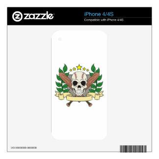 Skull Baseball Emblem Laurel Shield iPhone 4 Decal