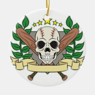 Skull Baseball Emblem Laurel Shield Double-Sided Ceramic Round Christmas Ornament