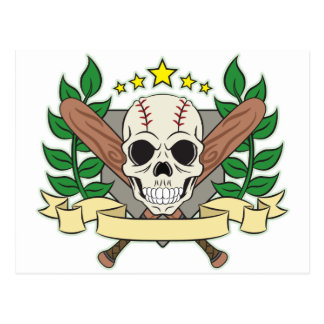 Skull Baseball Emblem Laurel Shield Postcard