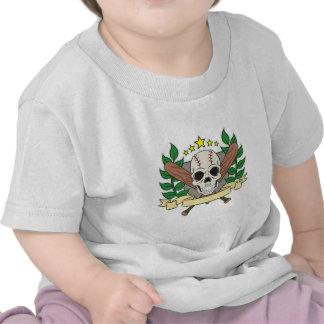 Skull Baseball Emblem Laurel Shield Shirt