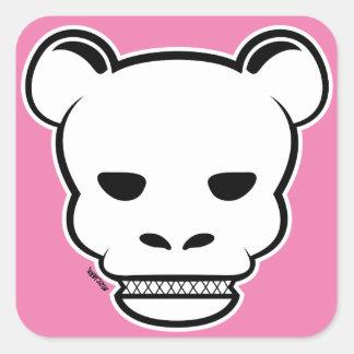 Skull Bear Pnk Sig Square Sticker