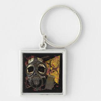 Skull Biohazard Silver-Colored Square Keychain
