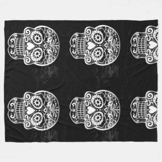 Skull,black and white 04 fleece blanket