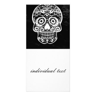 Skull,black and white 04 custom photo card