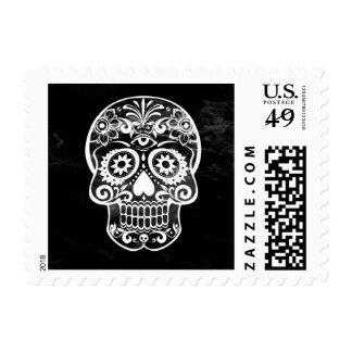 Skull black and white 04 stamp