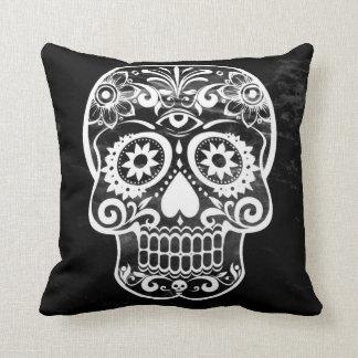 Skull,black and white 04 throw pillow
