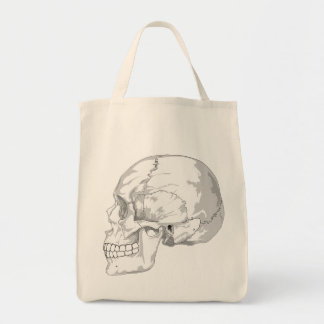 SKULL (BLACK AND WHITE) Grocery Tote Grocery Tote Bag