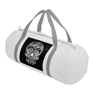 Skull,black and white gym duffel bag