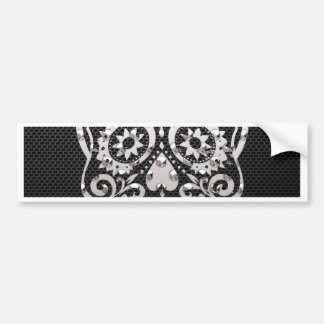 Skull, black silver metal 04 car bumper sticker
