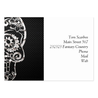 Skull, black silver metal 04 business card template