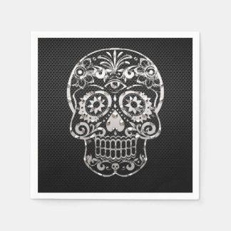 Skull, black silver metal 04 disposable napkin