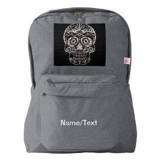 Skull, black silver metal 04 backpack