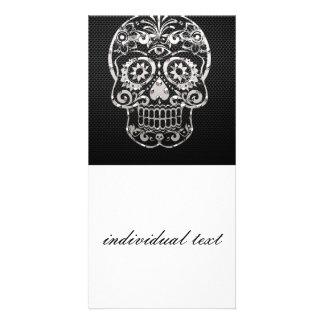 Skull, black silver metal 04 photo greeting card