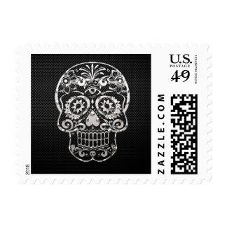 Skull black silver metal 04 postage