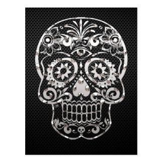 Skull, black silver metal 04 postcard