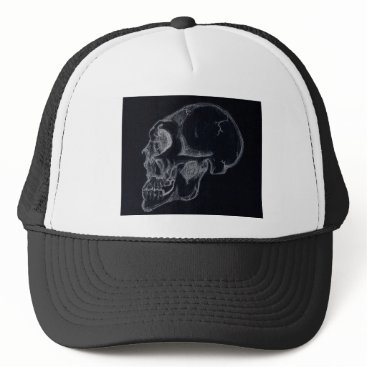Halloween Themed skull black trucker hat