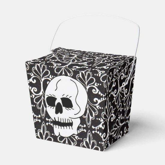 Skull Black White Damask Scrolls Favor Box