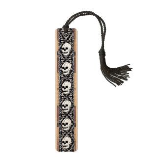 Skull Black White Damask Scrolls Maple Bookmark