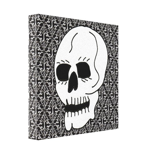 Skull Black White Damask Scrolls Original Painting Canvas Print