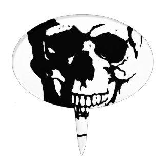 Skull - Black & White Metal Fantasy Art Cake Topper