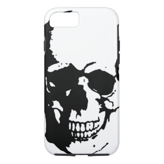 Skull - Black & White Metal Fantasy Art iPhone 7 Case
