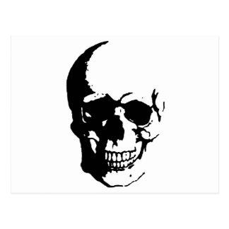 Skull - Black & White Metal Fantasy Art Postcard