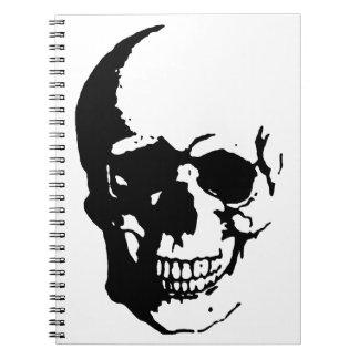 Skull - Black & White Metal Fantasy Art Spiral Notebook