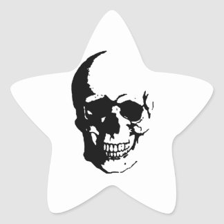 Skull - Black & White Metal Fantasy Art Star Sticker